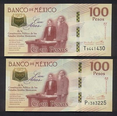 1917 2017 $100 Mexican Pesos Bank Note Commemorative Bill 100 Years Anniversary