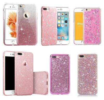 For iPhone Max XS 8 Pink Glitter Bling Sparkle Cute Protective Phone Case Cover