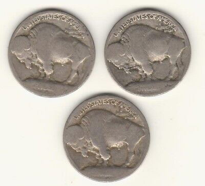 1913 P D S Type 1 Buffalo Nickels (3 coins)  Raised Mound Reverse