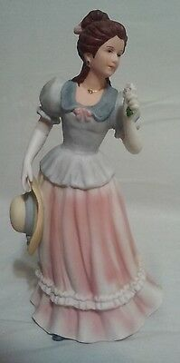 Vtg Homco Home Interiors Porcelain Victorian Lady Woman w Flowers Figurine #1452