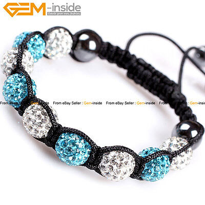"Grils Rhinestones Pave Beads CZ Crystal Disco Ball Beads 6""-8"" Bracelet with Box"