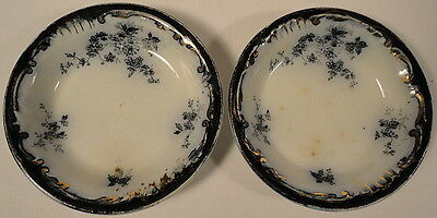 Two Butter Pats English Flow Blue Small Florals w/ Gold Trim Elegant