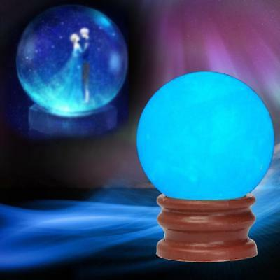 Blue Luminous Quartz Crystal Sphere Ball Glow In The Dark Stone With Base New TL