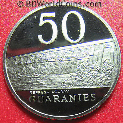 1980 Paraguay 50 Guaranies Rare Proof! General Estigarribia Acaray River Dam