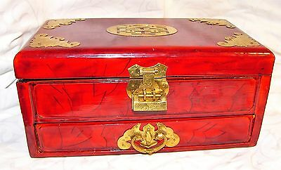 Red Lacquered Jewelry Box Wood Asian Drawer Brass Hardware