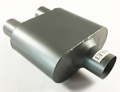 "Single Chamber Race Muffler 2.50"" Dia Center Inlet 2.25"" Dia Dual Outlet 4'' X 9"