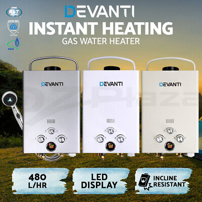 Devanti Gas Hot Water Heater Portable Shower Camping LPG Caravan Outdoor 4WD