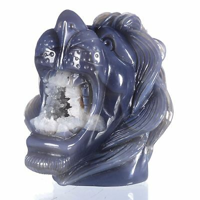 "4.72""Natural Geode Agate Lion Head Carving ,Collectibles#AU52"