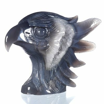 "6.69""Natural Geode Agate Eagle Head Carving ,Collectibles#AU20"