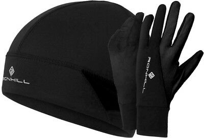 Ronhill Running Beanie Hat and Glove Set - Black