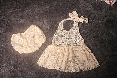 Photography Prop,Newborn to 3 month baby girl sitter cream lace dress and diaper