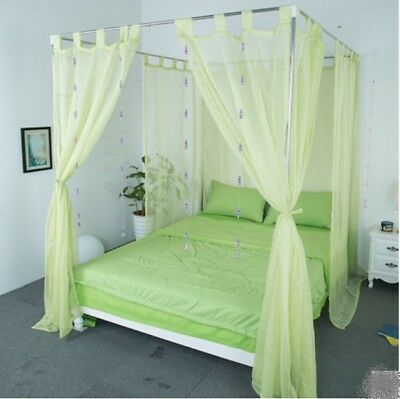 Queen Green Yarn Mosquito Net Bedding Four-Post Bed Canopy Curtain Netting .