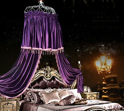 Queen Size Purple Ceiling Mosquito Net Bedding Bed Curtain Netting Canopy .