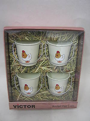 New Victor Bucket Style Enamel Boiled Egg Cup Cups Set 4 Cream Chickens TA240C