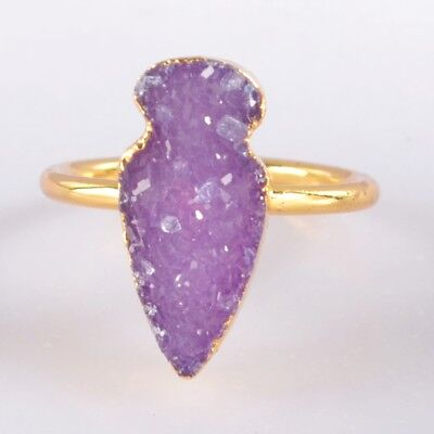 Size 5.25 Purple Agate Druzy Geode Ring Gold Plated H102070