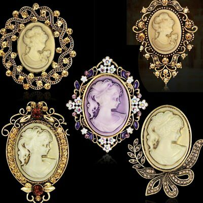 Vintage Fashion Cameo Brooch Pin Flower Princess Wedding Party Womens Jewellery