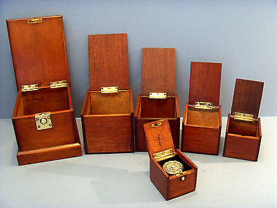 "Antique New England ""shaker"" Travelling Set Of Six Wooden Box'es With Inkwell."