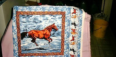Bay  Horse   Lovers Cotton Pillow Panel Fabric Household Apparel