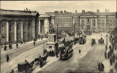 Ak Dublin Irland, College Green, Statue, Cablecars - 1611475