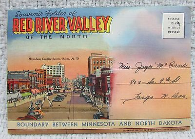1920's Red River Valley of The North Dakota Minnesota Foldout Postcard FREE S/H