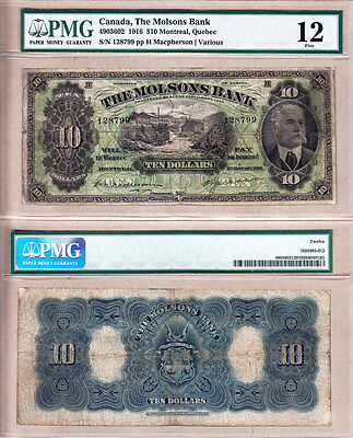 The Molsons Bank 1916 $10 with Great Vignette. Rare Issue; Large Size. PMG F12