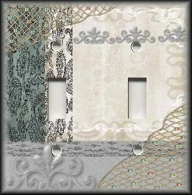 Metal Light Switch Plate Cover - Shabby Chic Decor Grey Lace Patchwork Decor