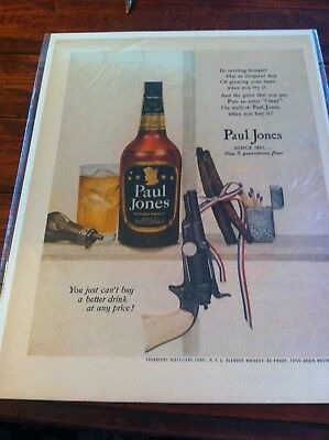 Vintage 1952 Paul Jones Whiskey Pistol & Powder Flask Print Art ad