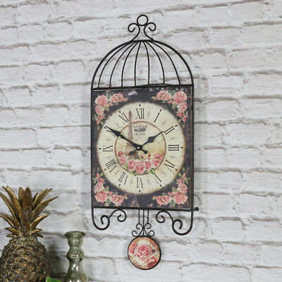 Vintage rose floral wall clock with pendulum shabby French chic Roman numeral