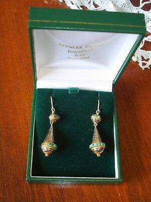 Antique Victorian 9ct Gold & Turquoise Drop Hook Earrings