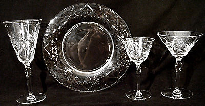 22 pc HAWKES Cut Crystal Stemware & Luncheon Plates matching water wine signed