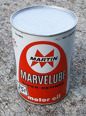 Vintage UNOPENED 1 Quart Motor Oil MARTIN MARVELUBE 25c Can Chicago, Illinois A