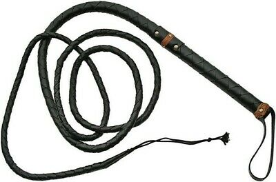 BLACK Braided Leather 9 Foot BULLWHIP Whip w/ Strap + Tassel End PA18059 New!