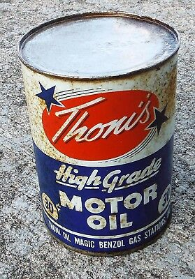 Vintage UNOPENED 1 Quart Motor Oil Can THONI'S/Benzol Gas Stations 30 Cents Can