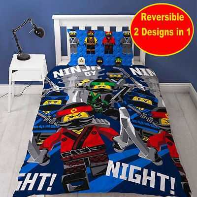 New LEGO NINJAGO MOVIE Single Duvet Quilt Cover Set Boys Kids Child Bedroom Gift