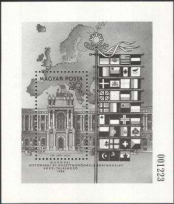 Hungary 1986 European Security/Palace/Buildings/BLACK Print Issue 1v m/s  b1550d