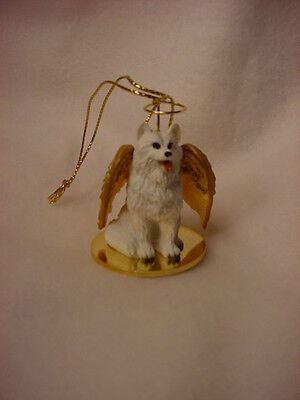 SAMOYED Dog ANGEL Ornament HAND PAINTED Resin Figurine NEW Christmas white puppy