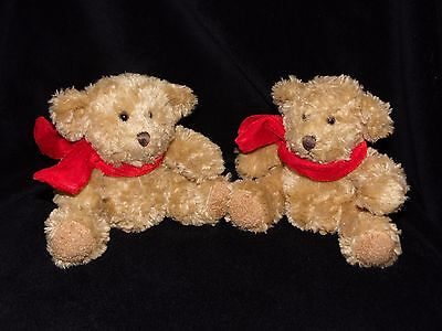 Two Russ Benjamin Bear Teddy Bear Soft Toy Comforter With Red Scarf 30580 X 2