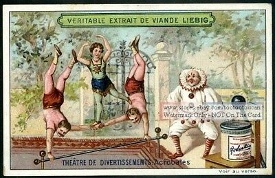 Circus Actobats And Clowns c1897 Trade Ad Card