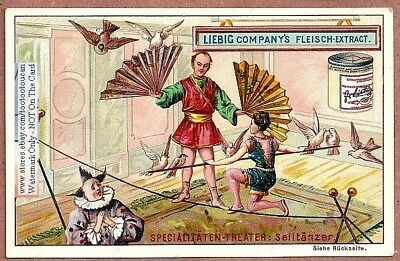 Circus High Wire Act And Clowns c1897  Trade Ad Card