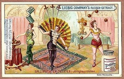 Female Circus Jugglers With Knifes c1897 Trade Ad Card