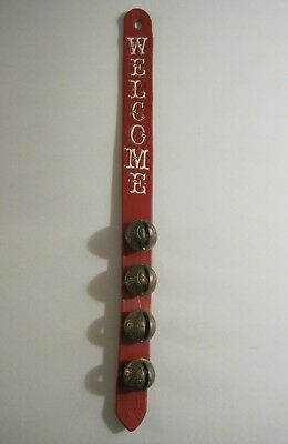 Unique Vintage Welcome Door Sign Leather Strap with 4 Brass Bells Red & White 18