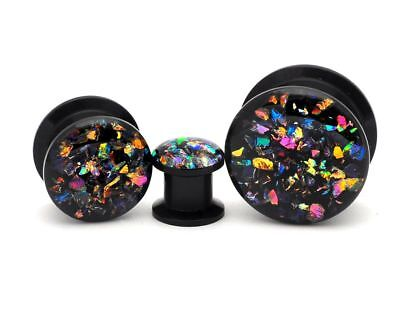 Pair of Black Acrylic Embedded Dichroic Glass Plugs gauges 8g through 1 inch