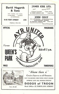 AYR UNITED v Queen's Park, 29th August 1953, League Cup