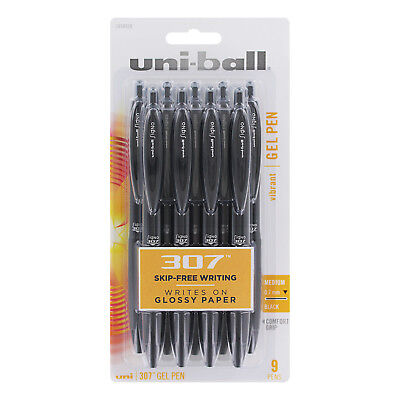 Uni-Ball Signo 307 Retractable Gel Ink Rollerball Pen, Medium, Black, 9-Count
