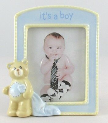 "Baby Gund Nursery ""It's a Boy"" Picture Frame w/Bear 3.5"" x 4"" Baby Nursery Decor"