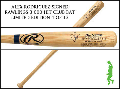 Alex Rodriguez Autographed Signed 3,000 Hit Club Baseball Bat Yankees Jsa Coa