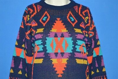 vintage 90s SERGIO ABSTRACT NATIVE AMERICAN PRINT ACRYLIC NEON SWEATER YM 10-12