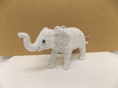 Little White Sparkle Elephant Figurine Christmas Tree Ornament 3Tx 5L In String