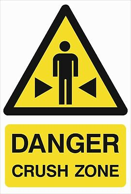 Danger Crush Zone A5/A4/A3 Sticker Or Foamex-Site Sign - H&S Sign - Weatherproof