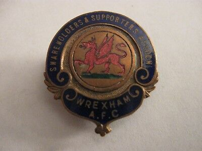 Rare Old Wrexham Football Shareholders & Supporters Club Enamel Buttonhole Badge